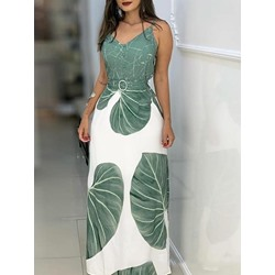 Print Plant Travel Look A-Line Women's Two Piece Sets