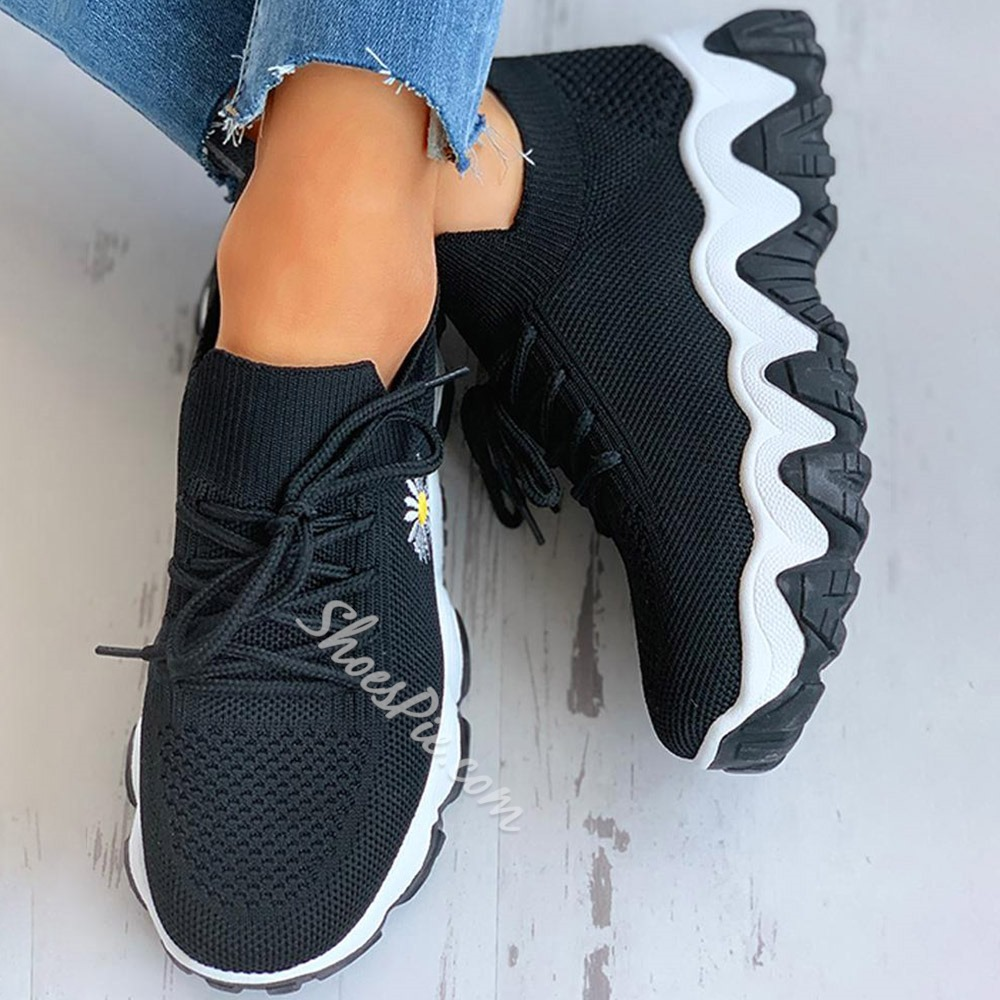 Shoespie Sexy Round Toe Mid-Cut Upper Lace-Up Mesh Sneakers