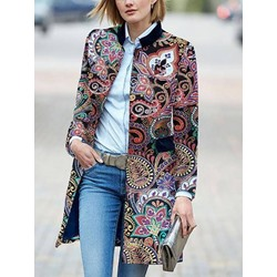 Embroidery Loose Single-Breasted Mid-Length Women's Overcoat