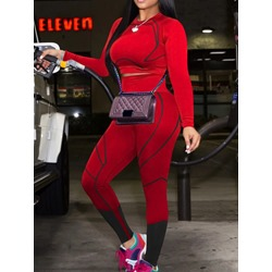Color Block T-Shirt Sports Pullover Women's Two Piece Sets