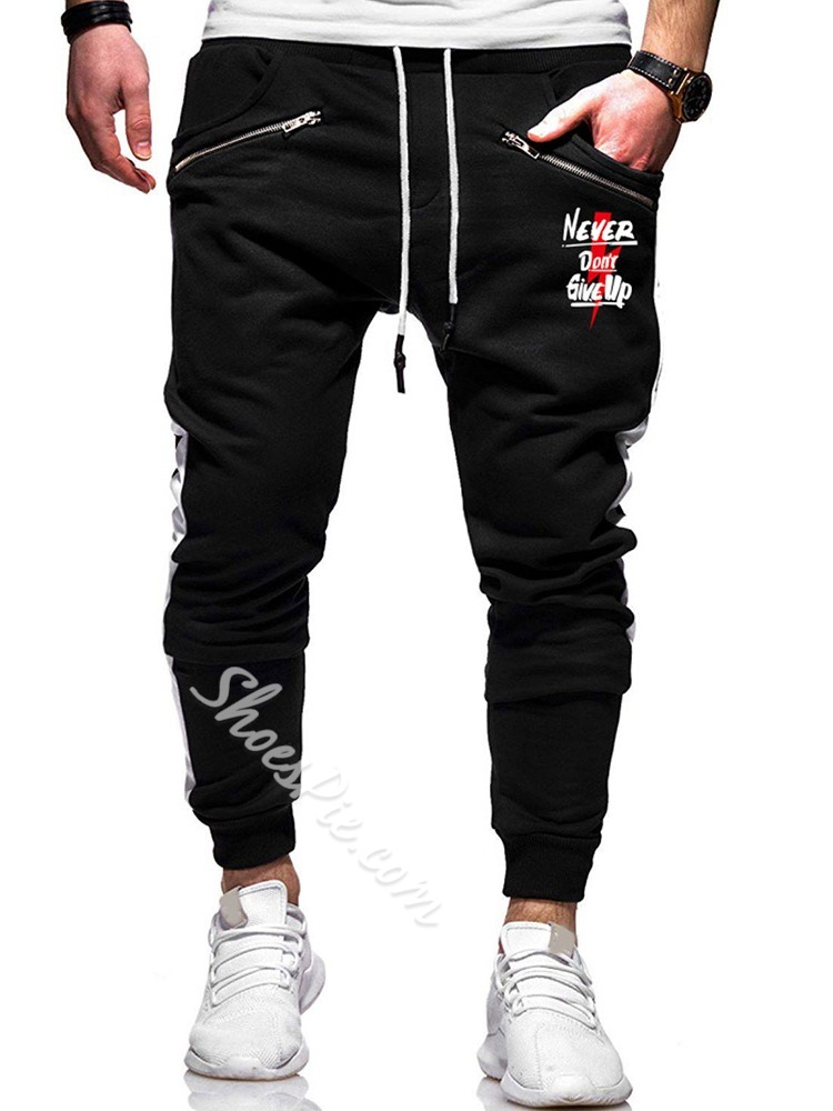 Letter Print Straight Casual Lace-Up Casual Pants