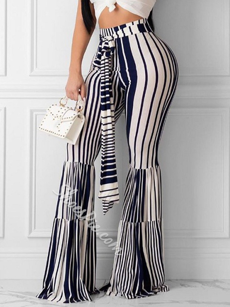 Lace-Up Slim Stripe Bellbottoms Women's Casual Pants