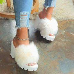 Shoespie Sexy Chunky Heel Slip-On Feather Western Slippers