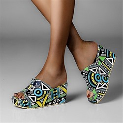 Shoespie Stylish Wedge Heel Flip Flop Slip-On Geometric Slippers