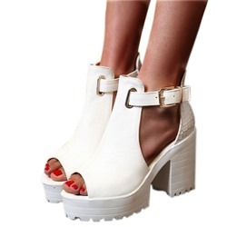 Shoespie Trendy Buckle Chunky Heel Peep Toe Ultra-High Heel(≥8cm) Thin Shoes