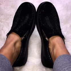 Shoespie Stylish Sequin Zipper Round Toe Plain Thin Shoes