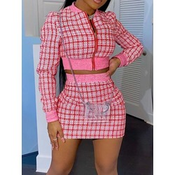 Fashion Zipper Plaid Zipper Women's Two Piece Sets