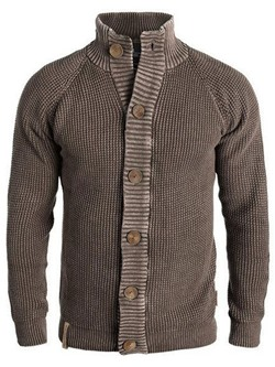 Plain Button Standard Fall Single-Breasted Sweater