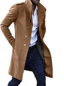 Mid-Length Plain Stand Collar Casual Single-Breasted Coat