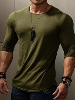 Plain Round Neck Casual Slim Pullover T-shirt