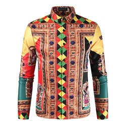 Lapel European Print Slim Shirt