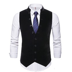 Button Plain Stand Collar Single-Breasted OL Waistcoat