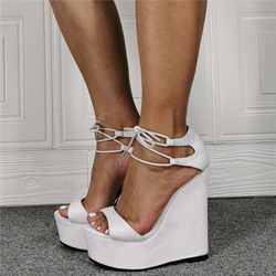 Shoespie Trendy Wedge Heel Lace-Up Open Toe Plain Sandals