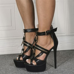 Shoespie Sexy Zipper Open Toe Stiletto Heel Zipper Sandals