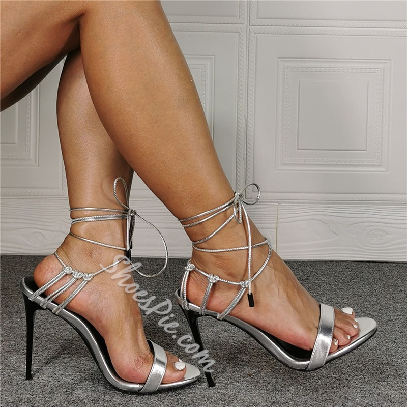 Shoespie Stylish Pointed Toe Stiletto Heel Lace-Up OL Sandals