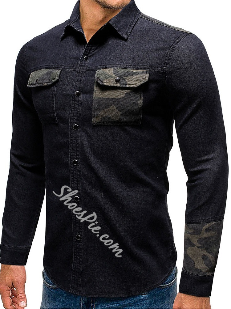 Lapel Patchwork European Slim Single-Breasted Shirt