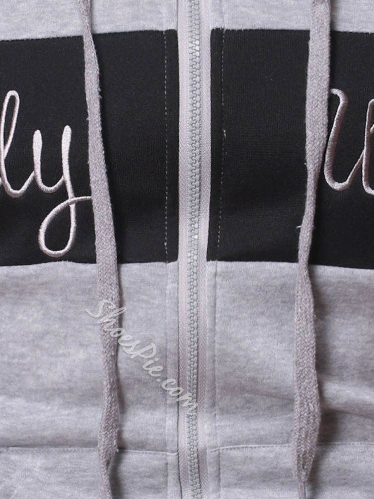 Patchwork Letter Cardigan Zipper Spring Hoodies