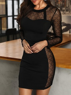 Round Neck Long Sleeve Above Knee Bodycon Women's Dress