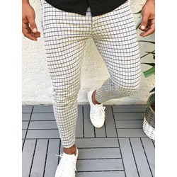 Pencil Pants Plaid Patchwork Lace-Up Mid Waist Casual Pants