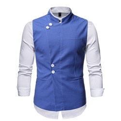 Plain Stand Collar Spring Single-Breasted Waistcoat