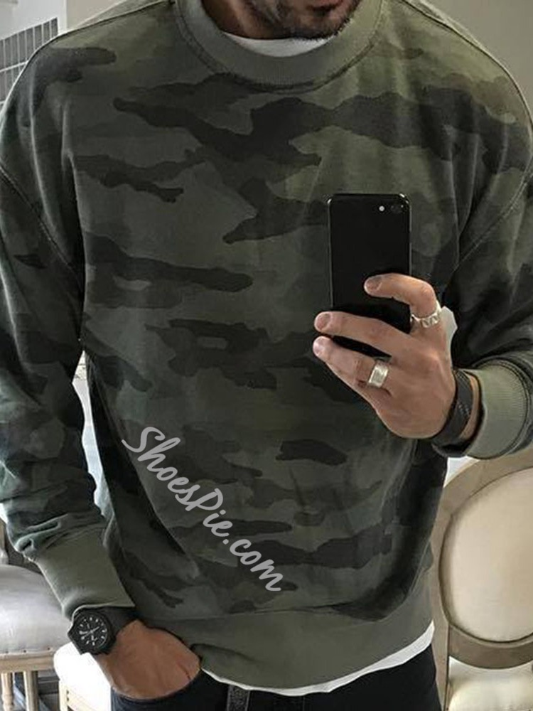 Print Pullover Camouflage Casual Round Neck Hoodies