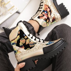 Shoespie Sexy Color Block Round Toe Lace-Up Front PU Boots