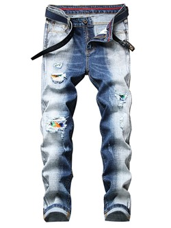 Straight Hole Zipper Mid Waist Jeans