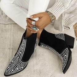 Shoespie Sexy Block Heel Elastic Pointed Toe Western Boots