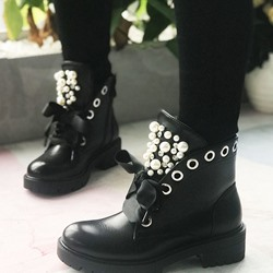 Shoespie Stylish Plain Block Heel Round Toe Zipper Boots