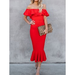 Short Sleeve Off Shoulder Mid-Calf Pullover Women's Dress