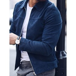 Plain Lapel Casual Zipper Jacket