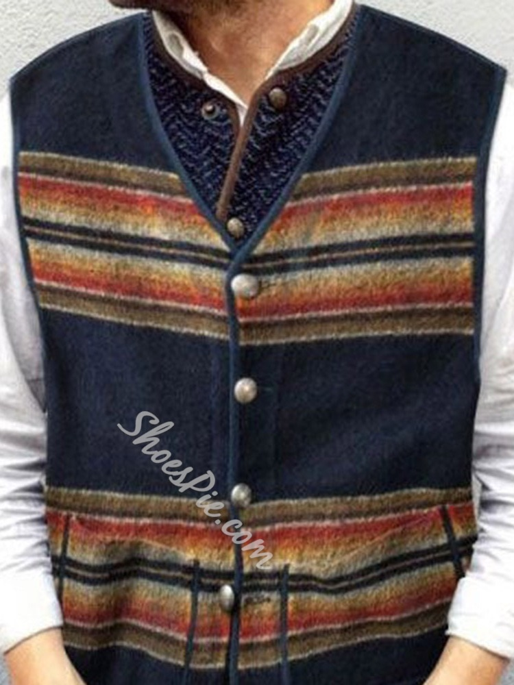 Color Block Pocket Fall Casual Waistcoat