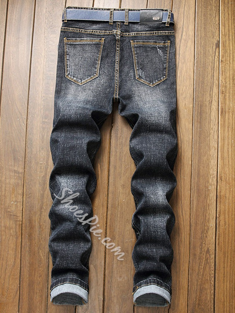 Straight Worn Mid Waist Zipper Jeans
