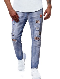 Leopard Worn Casual Zipper Jeans