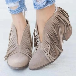 Shoespie Stylish Slip-On Plain Pointed Toe Platform Boots