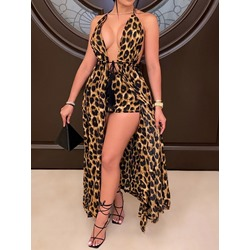 Leopard Lace-Up Sexy Straight Women's Two Piece Sets