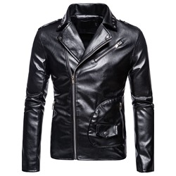 Plain Standard Lapel European Slim Leather Jacket