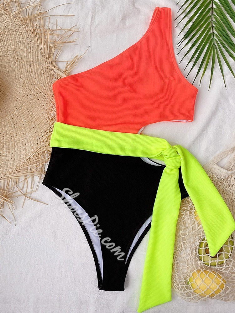 Color Block One Piece Sexy Women's Swimwear