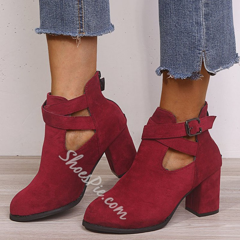 Shoespie Trendy Back Zip Chunky Heel Plain Zipper Boots