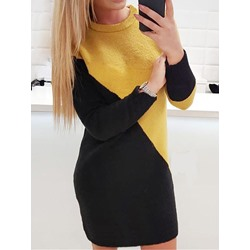 Above Knee Round Neck Long Sleeve Straight Women's Dress