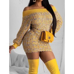 Long Sleeve Off Shoulder Lurex Casual Women's Dress