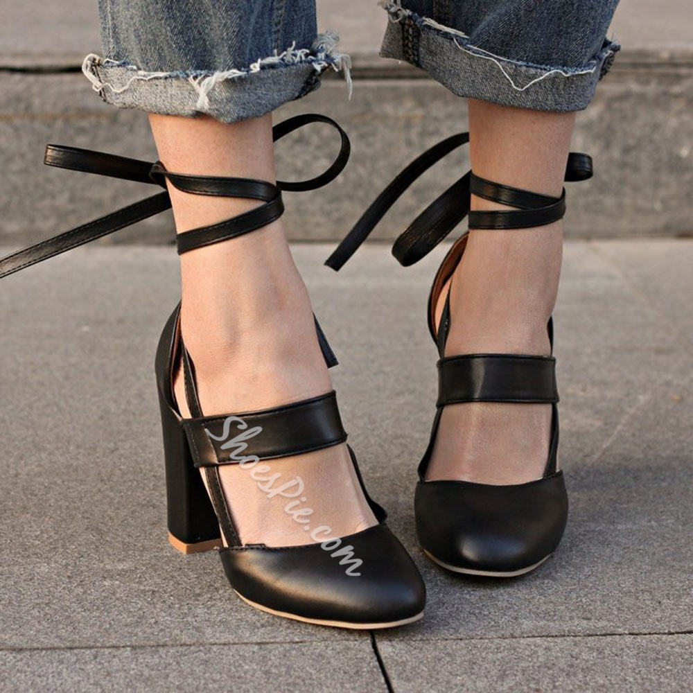 Shoespie Trendy Hollow Round Toe Chunky Heel High Heel (5-8cm) Thin Shoes