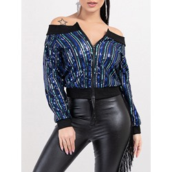 Thick Slim Long Sleeve Off Shoulder Women's Jacket