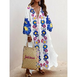 Nine Points Sleeve Ankle-Length Print Vintage Women's Dress