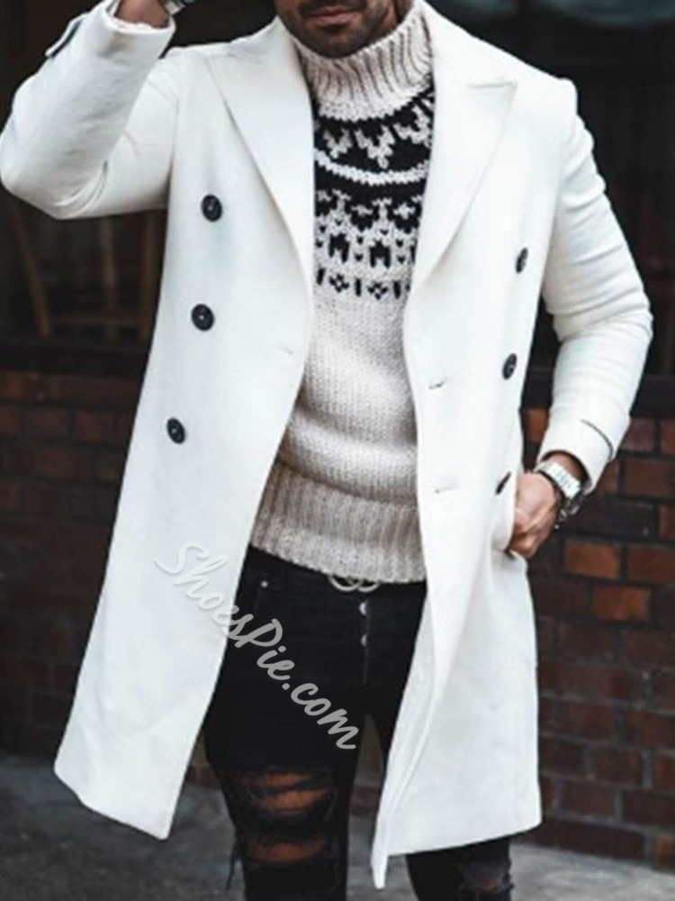 Plain Button Mid-Length Casual Double-Breasted Coat