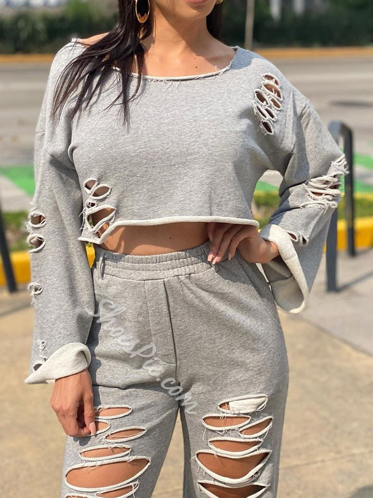 Pants Hole Simple Pullover Women's Two Piece Sets