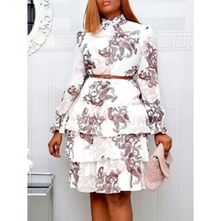 Print Long Sleeve Knee-Length High Waist Women's Dress