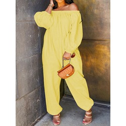 Simple Plain Full Length Loose Women's Jumpsuit
