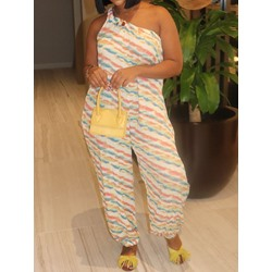 Simple Full Length Color Block Loose Women's Jumpsuit