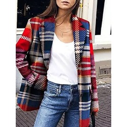 Long Sleeve Single-Breasted Notched Lapel Regular Women's Casual Blazer